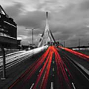 Zakim Bridge And Td Garden Boston Ma Red Tail Lights Art Print