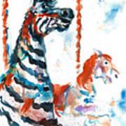 Zebra Gets A Ride The Ocean City Boardwalk Carousel Art Print