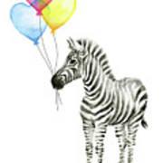 Baby Zebra Watercolor Animal With Balloons Art Print