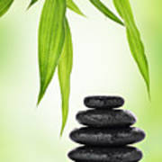 Zen Basalt Stones And Bamboo Print by Pics For Merch