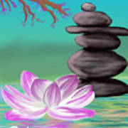 Zen Pool- Turquoise Art Print