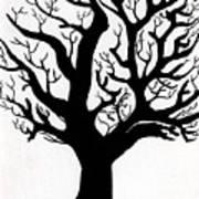 Zen Sumi Tree Of Life Enhanced Black Ink On Canvas By Ricardos Art Print