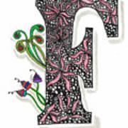 Zentangle Inspired F #1 Art Print