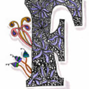 Zentangle Inspired F #2 Art Print