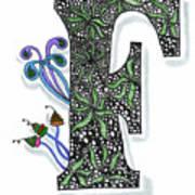 Zentangle Inspired F #3 Art Print