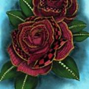 Zentangle Tattoo Rose Colored Art Print By Becky Herrera