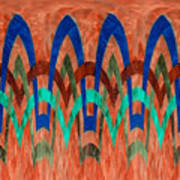 Zig Zag Pattern On Orange Art Print