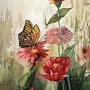 Zinnias And Monarch Art Print