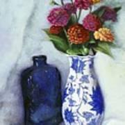 Zinnias With Blue Bottle Art Print