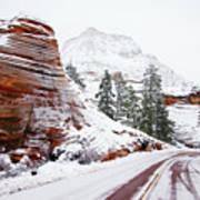 Zion Road In Winter Art Print