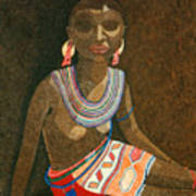 Zulu Woman With Beads Art Print