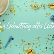 Zum Geburtstag Alles Gute Party Scene Layflat Art Print