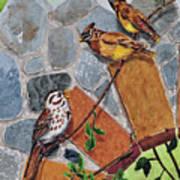005 Song Sparrow And Cedar Waxwings Art Print
