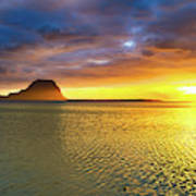 Amazing View Of Le Morne Brabant At Sunset.mauritius. Panorama Art Print