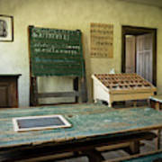 An Old Classroom With Blackboard And Boards With Old Script Art Print