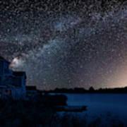 Beautiful Night Sky Astrophotography Landscape Image Of Milky Wa Art Print