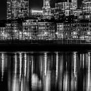 Boston Evening Skyline Of North End And Financial District - Monochrome Art Print