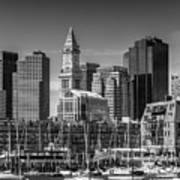 Boston Skyline North End And Financial District - Monochrome Art Print