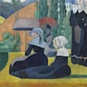 Breton Women With Umbrellas  Art Print
