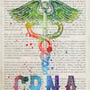 Certified Registered Nurse Anesthetist Gift Idea With Caduceus I Art Print