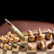 Chess Board And Bullets. Art Print