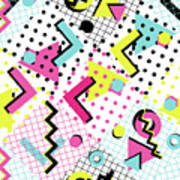 Colorful Abstract 80s Style Seamless Art Print