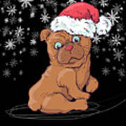 ca7069ab6e9dc Cute Pug In Snow With A Santa Hat On Digital Art by Louise Lench