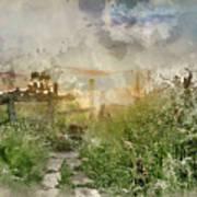 Digital Watercolor Painting Of Beautiful Vibrant Summer Sunrise  Art Print
