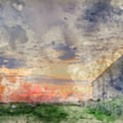 Digital Watercolor Painting Of Old Barn In Landscape At Sunset Art Print