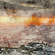 Digital Watercolor Painting Of Stunning Winter Panoramic Landsca Art Print