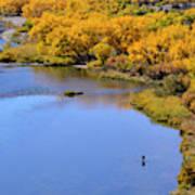 Distant Fisherman On The San Juan River In Fall Art Print