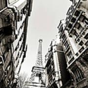 Eiffel Tower  Between Buildings In Art Print