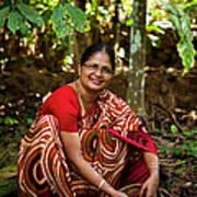 Female Coffee Farmer Harvesting Coffee Art Print