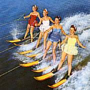 Four Women Waterskiing Art Print