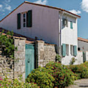 french houses in the streets of Saint Martin de re Art Print