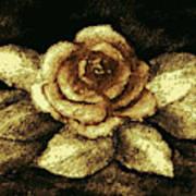 Antique Gold Rose Art Print