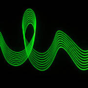 Green Abstract Coloured Lights Trails Art Print