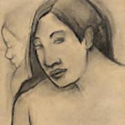 Heads Of Tahitian Women, Frontal And Profile Views Art Print