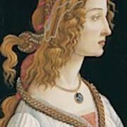 Portrait Of A Young Woman, Portrait Of Simonetta Vespucci As Nymph Art Print