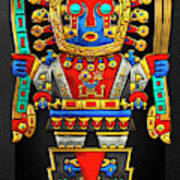 Incan Gods - The Great Creator Viracocha On Black Canvas Art Print
