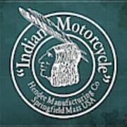 Indian Motorcycle Old Vintage Logo Green Background Art Print