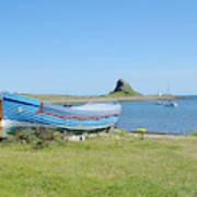 Lindisfarne Castle, Bay And Boat Art Print