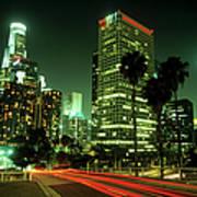 Los Angeles Skyline At Night Art Print