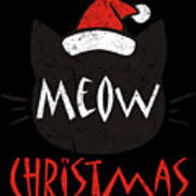 Meow Christmas Distressed Art Print