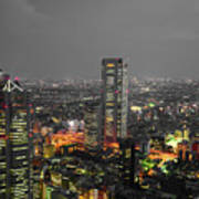 Mostly Black And White Tokyo Skyline At Night With Vibrant Selective Colors Art Print