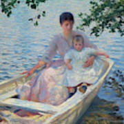 Mother And Child In A Boat Art Print
