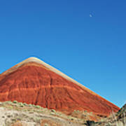 Painted Hills Desert With Quarter Moon Art Print