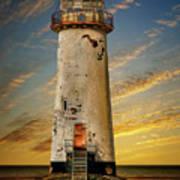 Point Of Ayr Lighthouse Sunset Art Print