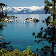 Rocks In A Lake With Mountain Range Art Print