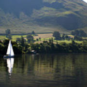 Sailboat On Ullswater In The Lake Art Print